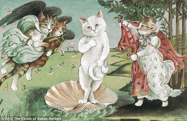 他把很多艺术作品重新创作成了猫主题